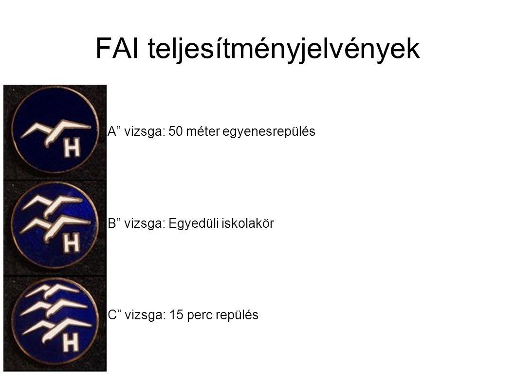 """FAI teljesítményjelvények """"A"""" vizsga: 50 méter egyenesrepülés """"B"""" vizsga: Egyedüli iskolakör """"C"""" vizsga: 15 perc repülés"""