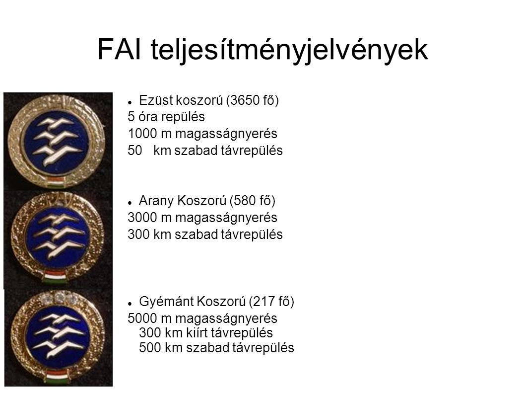 FAI teljesítményjelvények Ezüst koszorú (3650 fő) 5 óra repülés 1000 m magasságnyerés 50 km szabad távrepülés Arany Koszorú (580 fő) 3000 m magasságny
