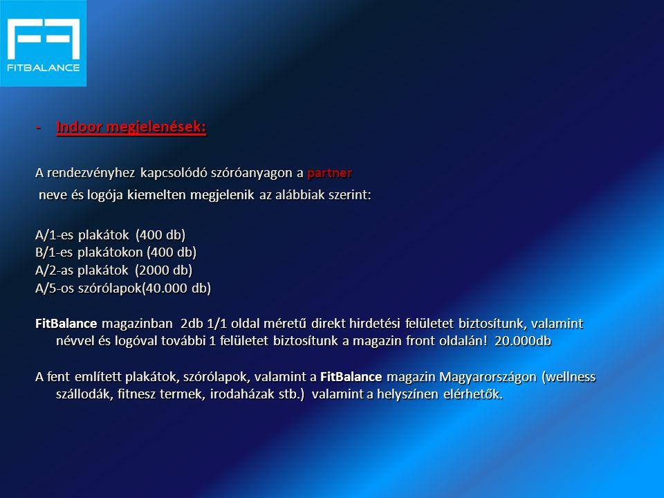 -Indoor megjelenések: A rendezvényhez kapcsolódó szóróanyagon a partner neve és logója kiemelten megjelenik az alábbiak szerint: neve és logója kiemelten megjelenik az alábbiak szerint: A/1-es plakátok (400 db) B/1-es plakátokon (400 db) A/2-as plakátok (2000 db) A/5-os szórólapok(40.000 db) FitBalance magazinban 2db 1/1 oldal méretű direkt hirdetési felületet biztosítunk, valamint névvel és logóval további 1 felületet biztosítunk a magazin front oldalán.