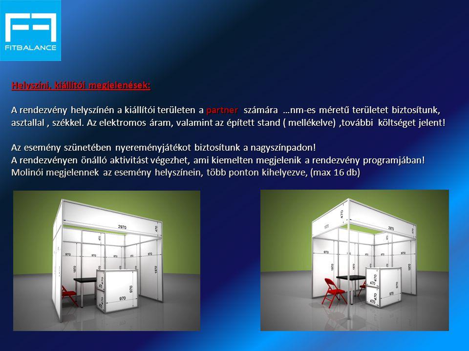 Helyszíni, kiállítói megjelenések: A rendezvény helyszínén a kiállítói területen partner számára …nm-es méretű területet biztosítunk, asztallal, székkel.