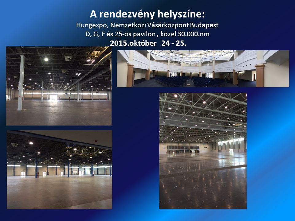 A rendezvény helyszíne: Hungexpo, Nemzetközi Vásárközpont Budapest D, G, F és 25-ös pavilon, közel 30.000.nm 2015.október 24 - 25.