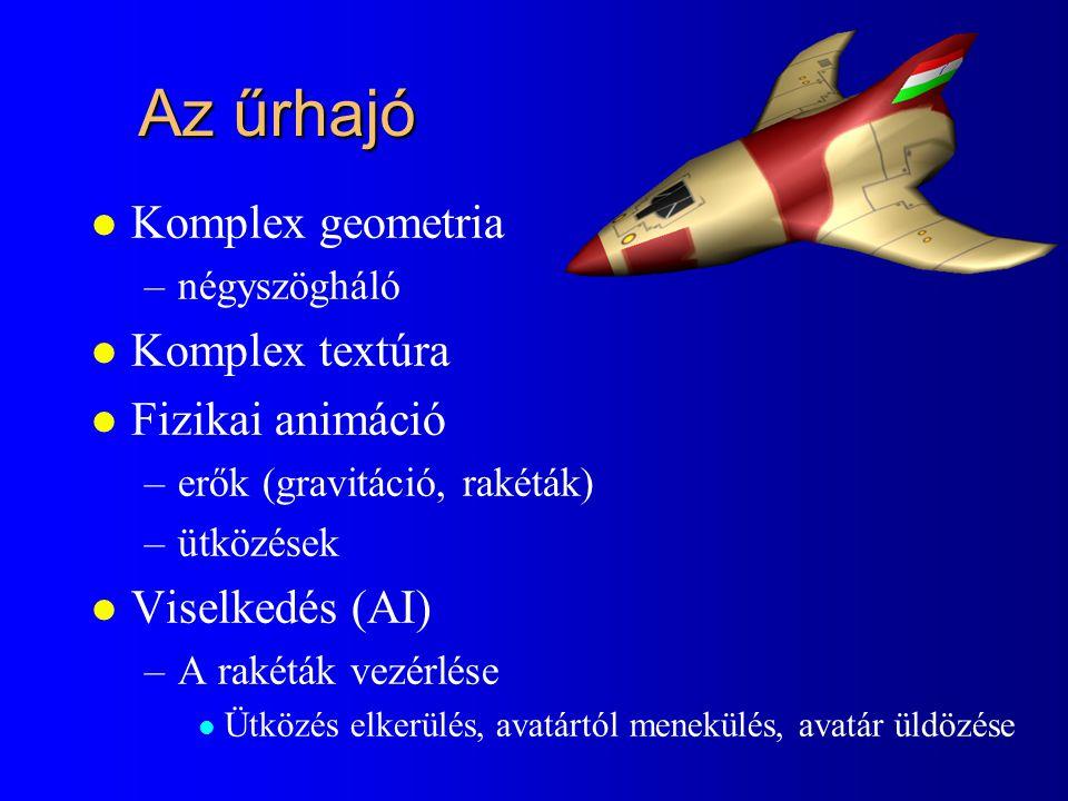 Az űrhajó l Komplex geometria –négyszögháló l Komplex textúra l Fizikai animáció –erők (gravitáció, rakéták) –ütközések l Viselkedés (AI) –A rakéták v