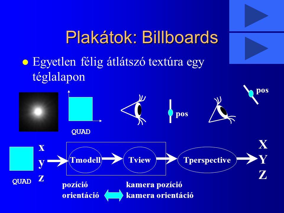 Plakátok: Billboards l Egyetlen félig átlátszó textúra egy téglalapon pos QUAD TmodellTviewTperspective xyzxyz XYZXYZ pozíció orientáció kamera pozíci