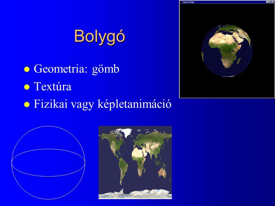 Bolygó l Geometria: gömb l Textúra l Fizikai vagy képletanimáció