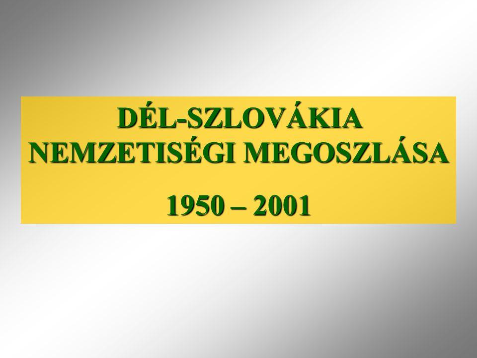 DÉL-SZLOVÁKIA NEMZETISÉGI MEGOSZLÁSA 1950 – 2001