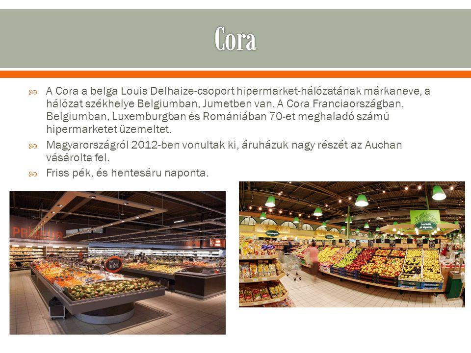  A Cora a belga Louis Delhaize-csoport hipermarket-hálózatának márkaneve, a hálózat székhelye Belgiumban, Jumetben van.