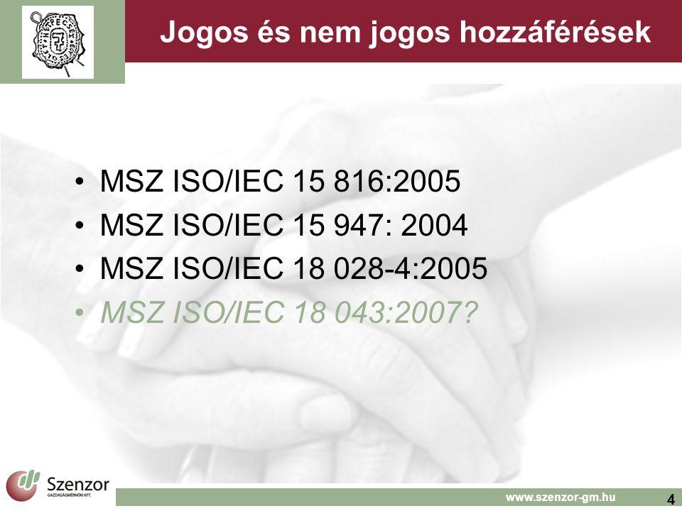 4 www.szenzor-gm.hu Jogos és nem jogos hozzáférések MSZ ISO/IEC 15 816:2005 MSZ ISO/IEC 15 947: 2004 MSZ ISO/IEC 18 028-4:2005 MSZ ISO/IEC 18 043:2007