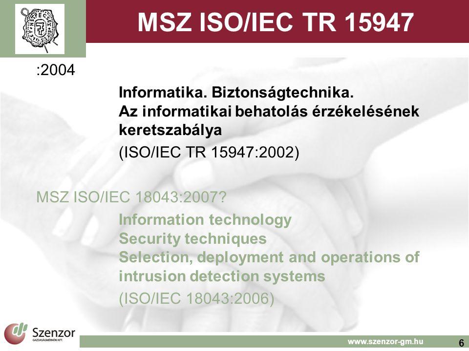 6 www.szenzor-gm.hu MSZ ISO/IEC TR 15947 :2004 Informatika.