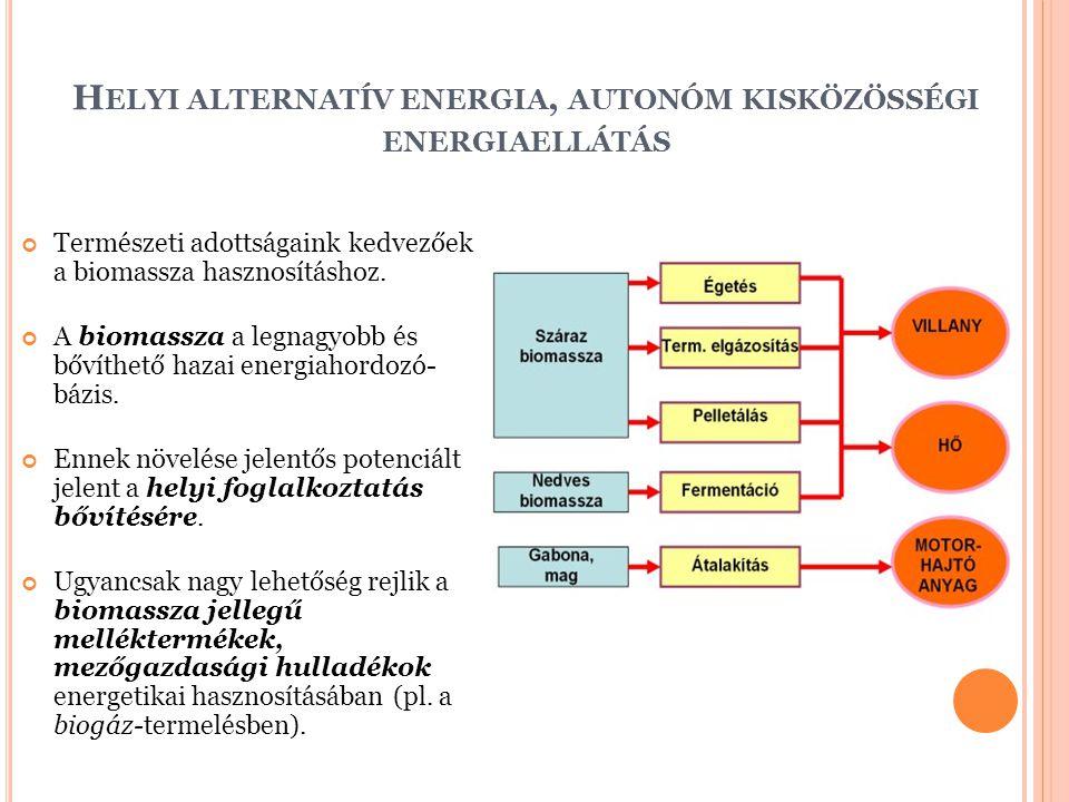 H ELYI ALTERNATÍV ENERGIA, AUTONÓM KISKÖZÖSSÉGI ENERGIAELLÁTÁS Természeti adottságaink kedvezőek a biomassza hasznosításhoz.