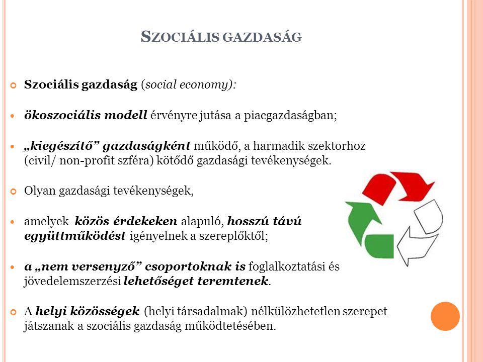"""S ZOCIÁLIS GAZDASÁG Szociális gazdaság (social economy): ökoszociális modell érvényre jutása a piacgazdaságban; """"kiegészítő gazdaságként működő, a harmadik szektorhoz (civil/ non-profit szféra) kötődő gazdasági tevékenységek."""