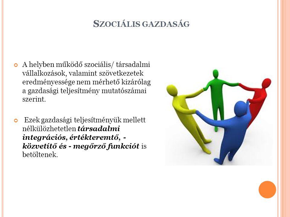 S ZOCIÁLIS GAZDASÁG A helyben működő szociális/ társadalmi vállalkozások, valamint szövetkezetek eredményessége nem mérhető kizárólag a gazdasági teljesítmény mutatószámai szerint.