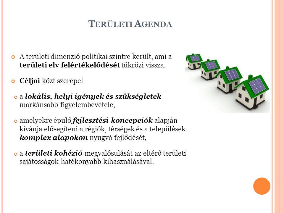 T ERÜLETI A GENDA A területi dimenzió politikai szintre került, ami a területi elv felértékelődését tükrözi vissza.