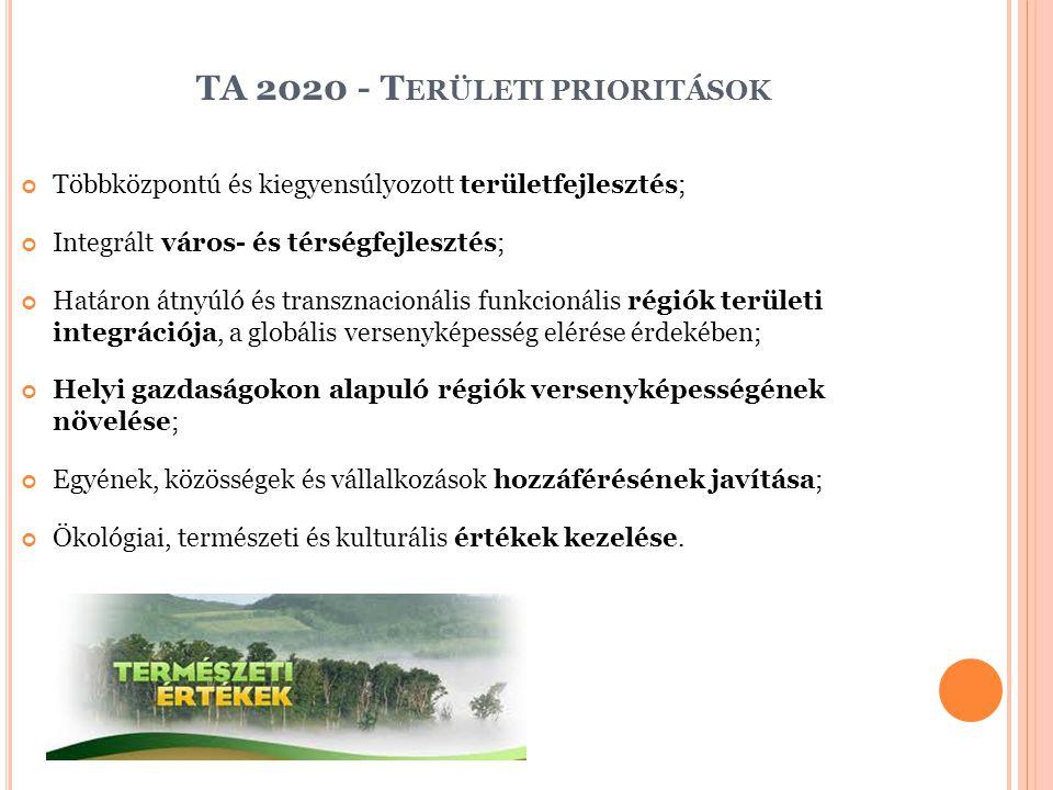 TA 2020 - T ERÜLETI PRIORITÁSOK Többközpontú és kiegyensúlyozott területfejlesztés; Integrált város- és térségfejlesztés; Határon átnyúló és transznacionális funkcionális régiók területi integrációja, a globális versenyképesség elérése érdekében; Helyi gazdaságokon alapuló régiók versenyképességének növelése; Egyének, közösségek és vállalkozások hozzáférésének javítása; Ökológiai, természeti és kulturális értékek kezelése.