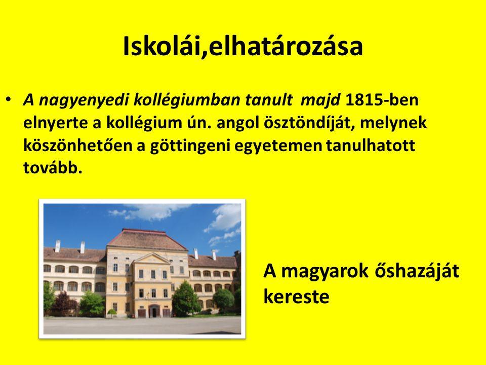 Iskolái,elhatározása A nagyenyedi kollégiumban tanult majd 1815-ben elnyerte a kollégium ún.