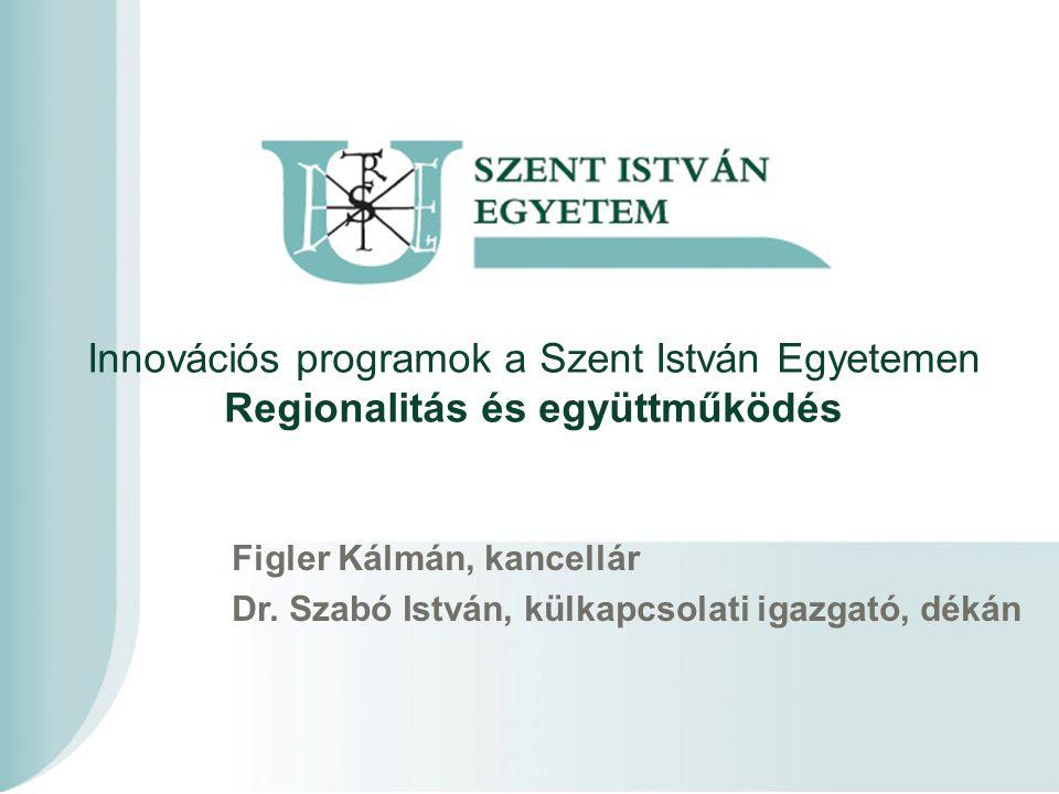 Innovációs programok a Szent István Egyetemen Regionalitás és együttműködés Figler Kálmán, kancellár Dr.