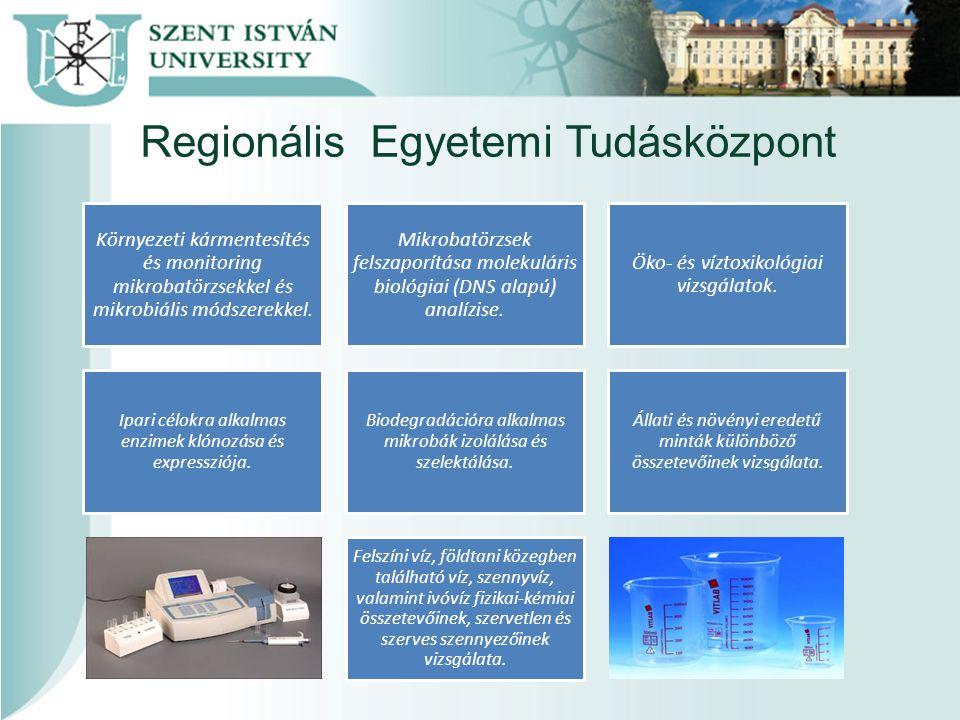Regionális Egyetemi Tudásközpont Környezeti kármentesítés és monitoring mikrobatörzsekkel és mikrobiális módszerekkel.