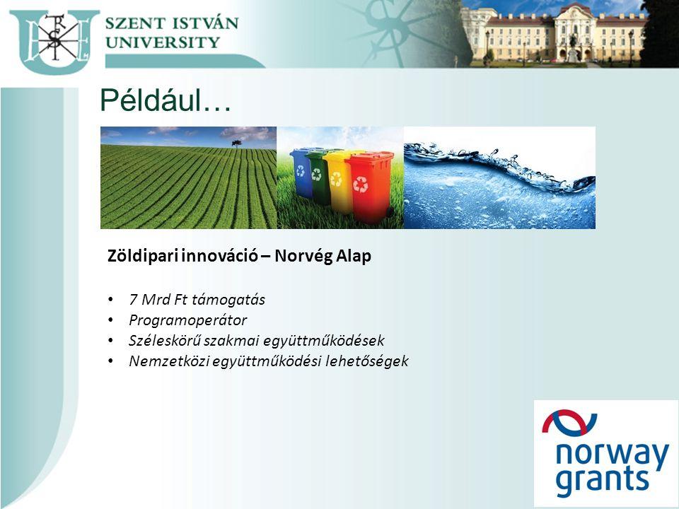 Például… Zöldipari innováció – Norvég Alap 7 Mrd Ft támogatás Programoperátor Széleskörű szakmai együttműködések Nemzetközi együttműködési lehetőségek