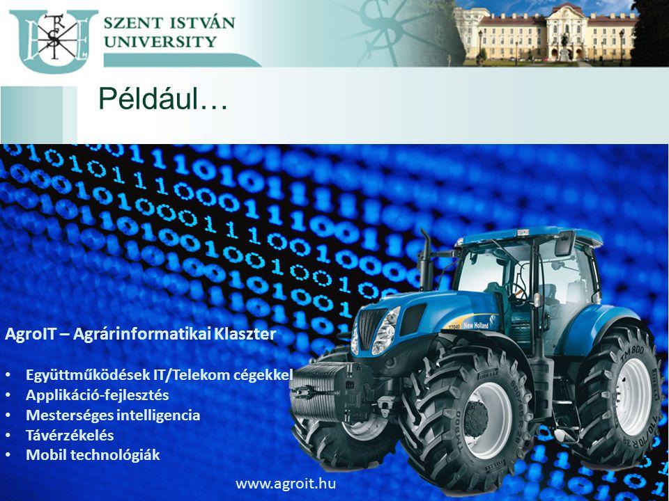 Például… AgroIT – Agrárinformatikai Klaszter Együttműködések IT/Telekom cégekkel Applikáció-fejlesztés Mesterséges intelligencia Távérzékelés Mobil technológiák www.agroit.hu