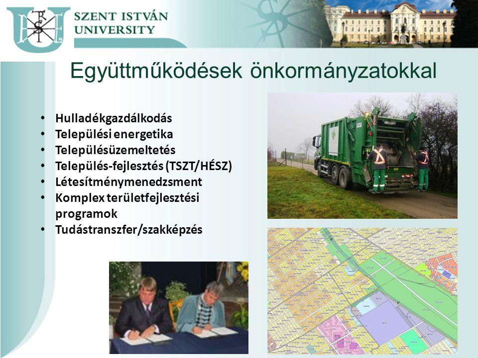 Együttműködések önkormányzatokkal Hulladékgazdálkodás Települési energetika Településüzemeltetés Település-fejlesztés (TSZT/HÉSZ) Létesítménymenedzsment Komplex területfejlesztési programok Tudástranszfer/szakképzés