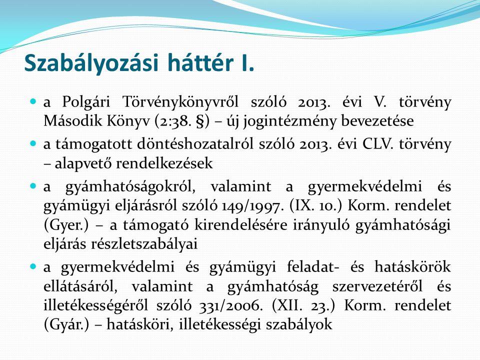 Szabályozási háttér I. a Polgári Törvénykönyvről szóló 2013. évi V. törvény Második Könyv (2:38. §) – új jogintézmény bevezetése a támogatott döntésho