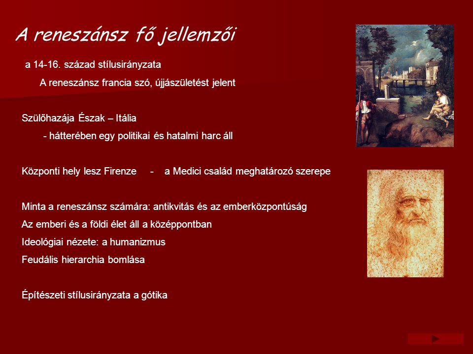 Képzőművészet és zene A cél : a harmónikus emberideál megformálása lett Az újkor első nagy festője Giotto A 16.