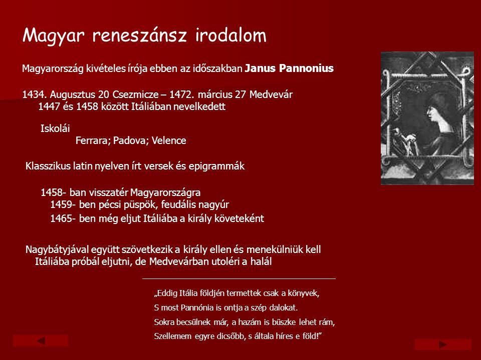 """Magyar reneszánsz irodalom Nagybátyjával együtt szövetkezik a király ellen és menekülniük kell Itáliába próbál eljutni, de Medvevárban utoléri a halál """"Eddig Itália földjén termettek csak a könyvek, S most Pannónia is ontja a szép dalokat."""