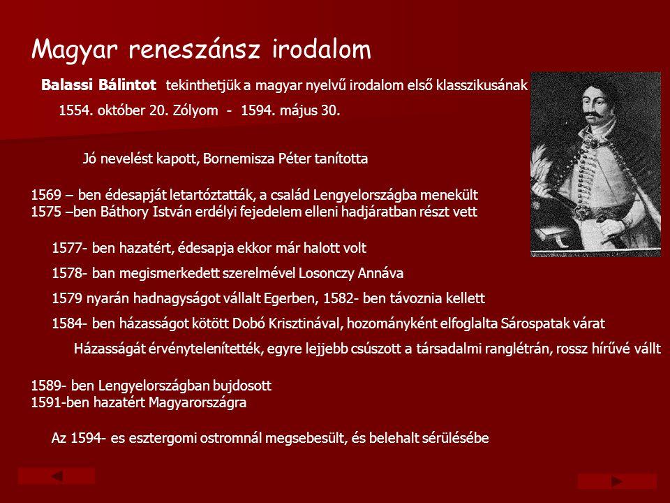Magyar reneszánsz irodalom Balassi Bálintot tekinthetjük a magyar nyelvű irodalom első klasszikusának 1554. október 20. Zólyom - 1594. május 30. Jó ne