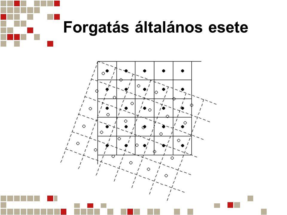 Az újramintavételezés Angolul: resampling Kérdései: –Milyen intenzitásérték legyen az ÚJ pixelekben.