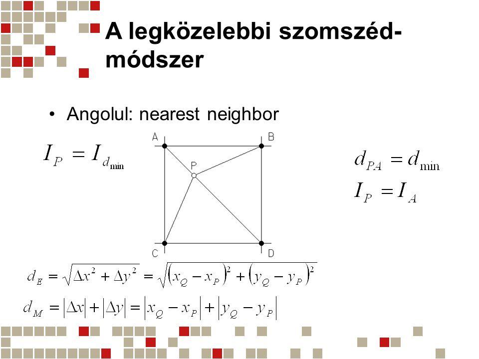 A legközelebbi szomszéd- módszer Angolul: nearest neighbor