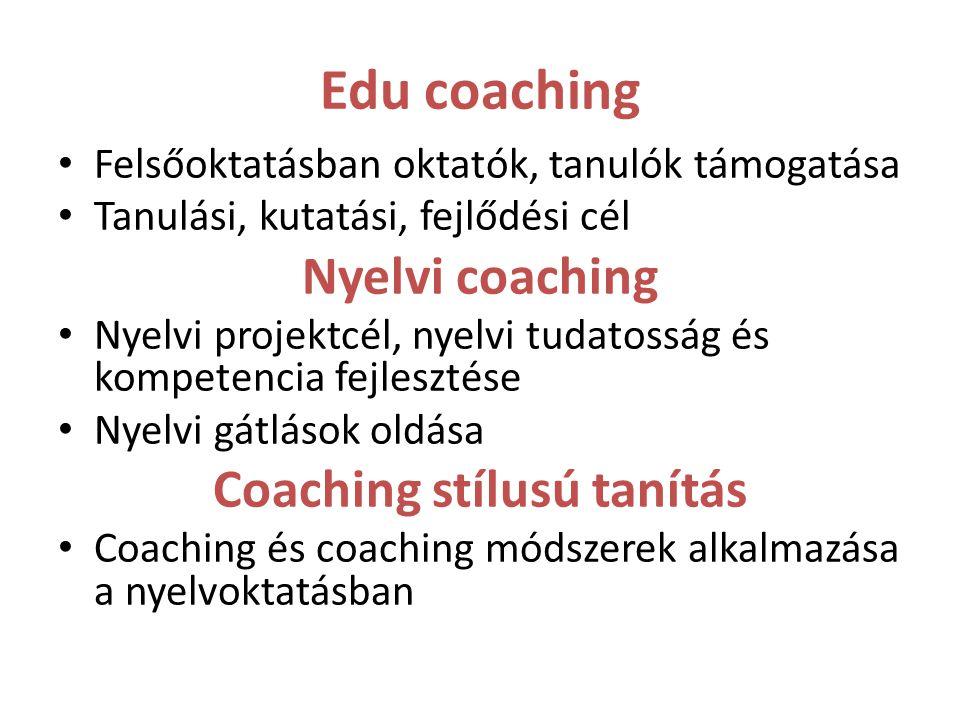 Edu coaching Felsőoktatásban oktatók, tanulók támogatása Tanulási, kutatási, fejlődési cél Nyelvi coaching Nyelvi projektcél, nyelvi tudatosság és kom