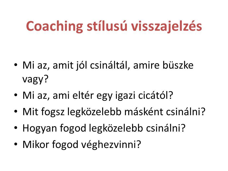 Coaching stílusú visszajelzés Mi az, amit jól csináltál, amire büszke vagy? Mi az, ami eltér egy igazi cicától? Mit fogsz legközelebb másként csinálni