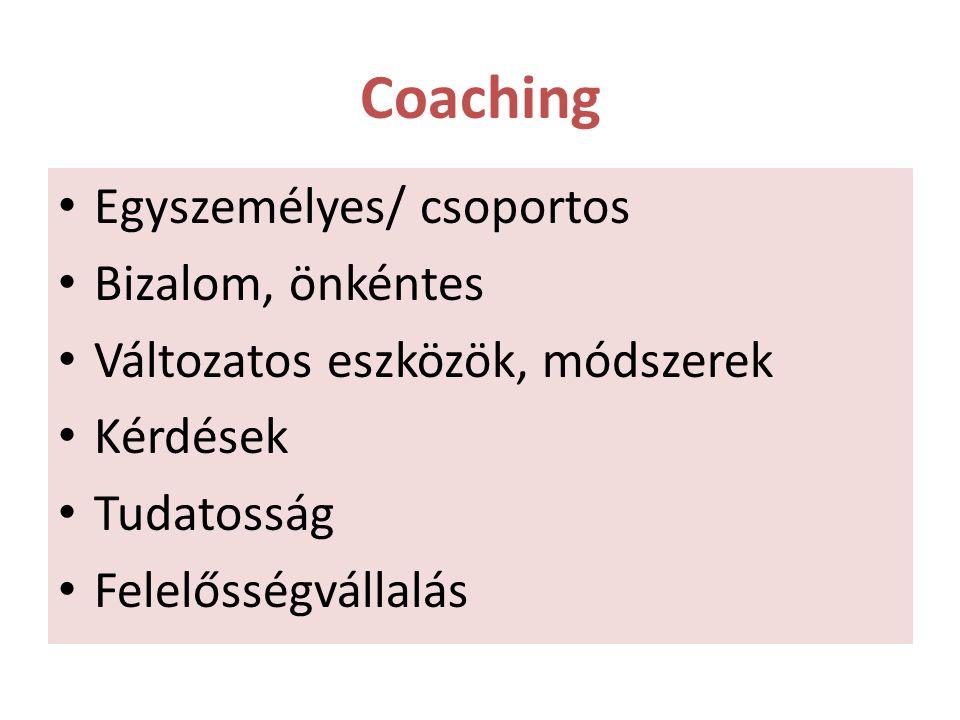 Coaching Egyszemélyes/ csoportos Bizalom, önkéntes Változatos eszközök, módszerek Kérdések Tudatosság Felelősségvállalás