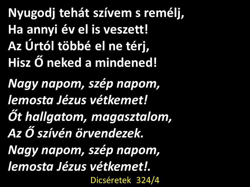 Nyugodj tehát szívem s remélj, Ha annyi év el is veszett! Az Úrtól többé el ne térj, Hisz Ő neked a mindened! Nagy napom, szép napom, lemosta Jézus vé