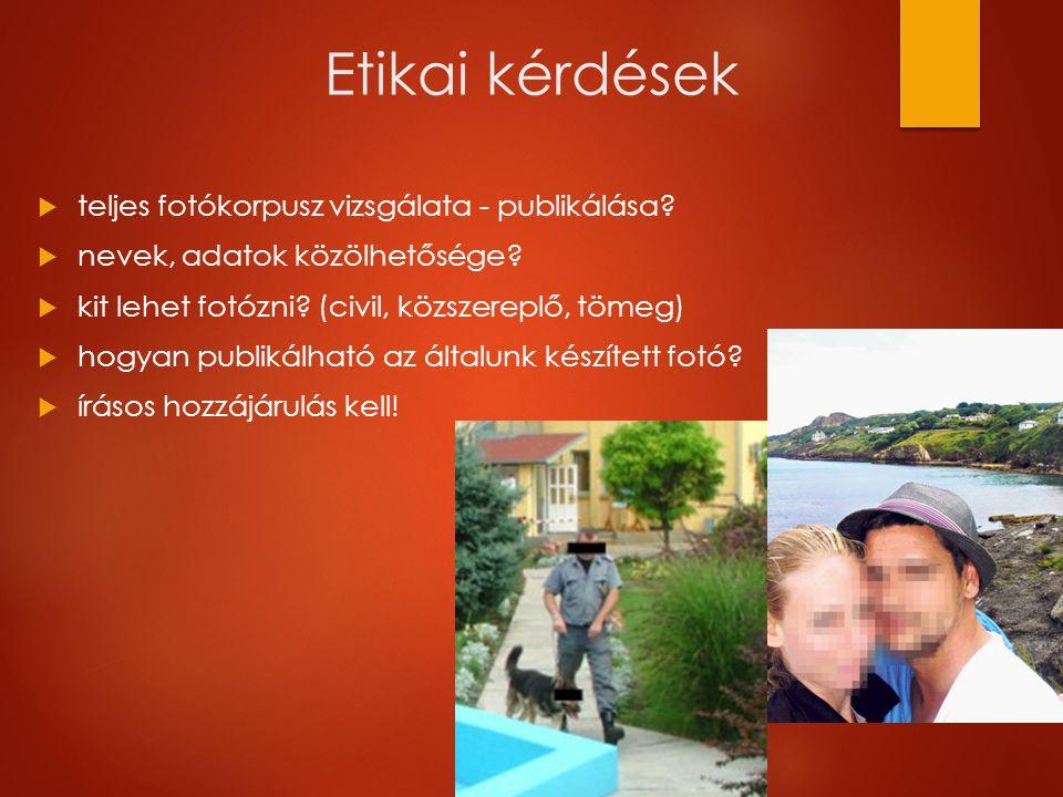 Etikai kérdések  teljes fotókorpusz vizsgálata - publikálása.