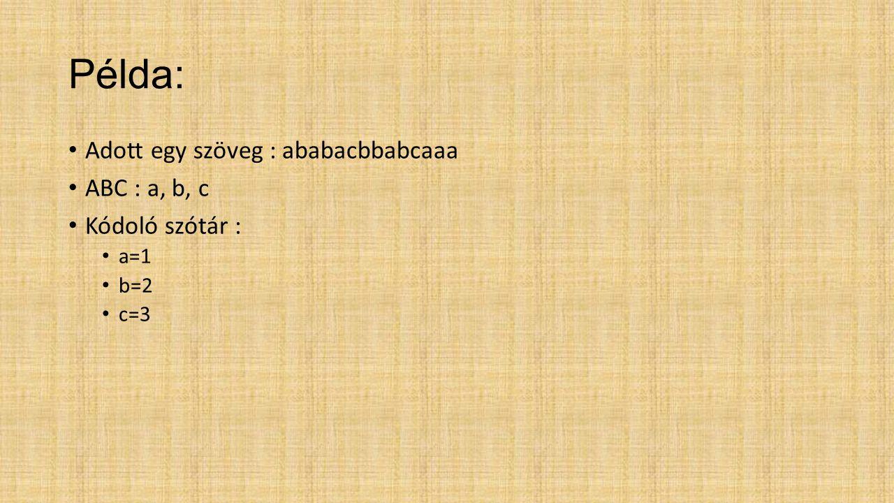 Input: ababacbbabcaaa Output: 1 2 4 1 3 2 5 2 3 1 13 Kódoló szótár : a=1bab= 10 b=2bc=11 c=3ca=12 ab=4aa=13 ba =5 aba=6 ac =7 cb = 8 bb = 9