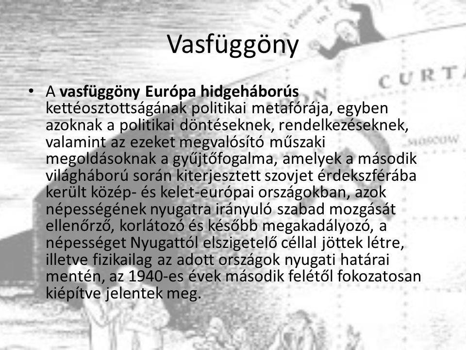 Vasfüggöny A vasfüggöny Európa hidgeháborús kettéosztottságának politikai metafórája, egyben azoknak a politikai döntéseknek, rendelkezéseknek, valamint az ezeket megvalósító műszaki megoldásoknak a gyűjtőfogalma, amelyek a második világháború során kiterjesztett szovjet érdekszférába került közép- és kelet-európai országokban, azok népességének nyugatra irányuló szabad mozgását ellenőrző, korlátozó és később megakadályozó, a népességet Nyugattól elszigetelő céllal jöttek létre, illetve fizikailag az adott országok nyugati határai mentén, az 1940-es évek második felétől fokozatosan kiépítve jelentek meg.