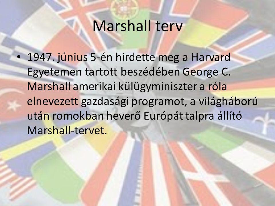 Marshall terv 1947. június 5-én hirdette meg a Harvard Egyetemen tartott beszédében George C.