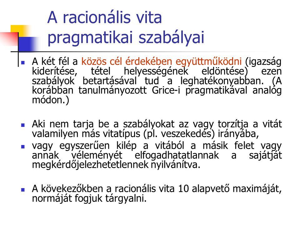 A racionális vita pragmatikai szabályai A két fél a közös cél érdekében együttműködni (igazság kiderítése, tétel helyességének eldöntése) ezen szabály