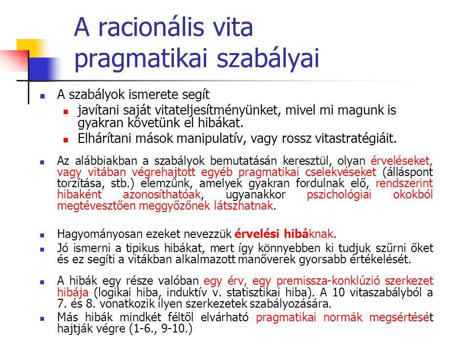 A racionális vita pragmatikai szabályai A szabályok ismerete segít javítani saját vitateljesítményünket, mivel mi magunk is gyakran követünk el hibáka