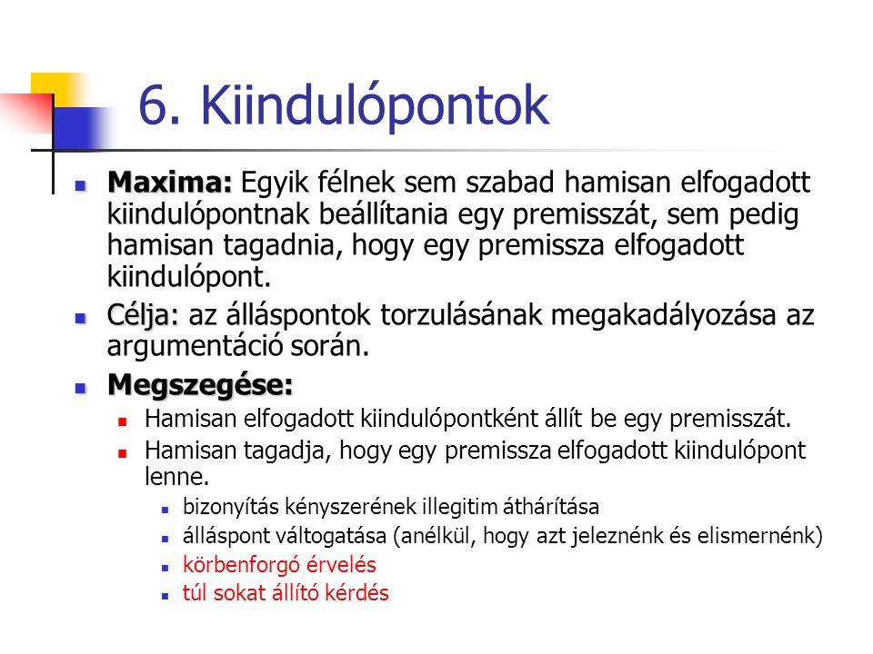 6. Kiindulópontok Maxima: Maxima: Egyik félnek sem szabad hamisan elfogadott kiindulópontnak beállítania egy premisszát, sem pedig hamisan tagadnia, h