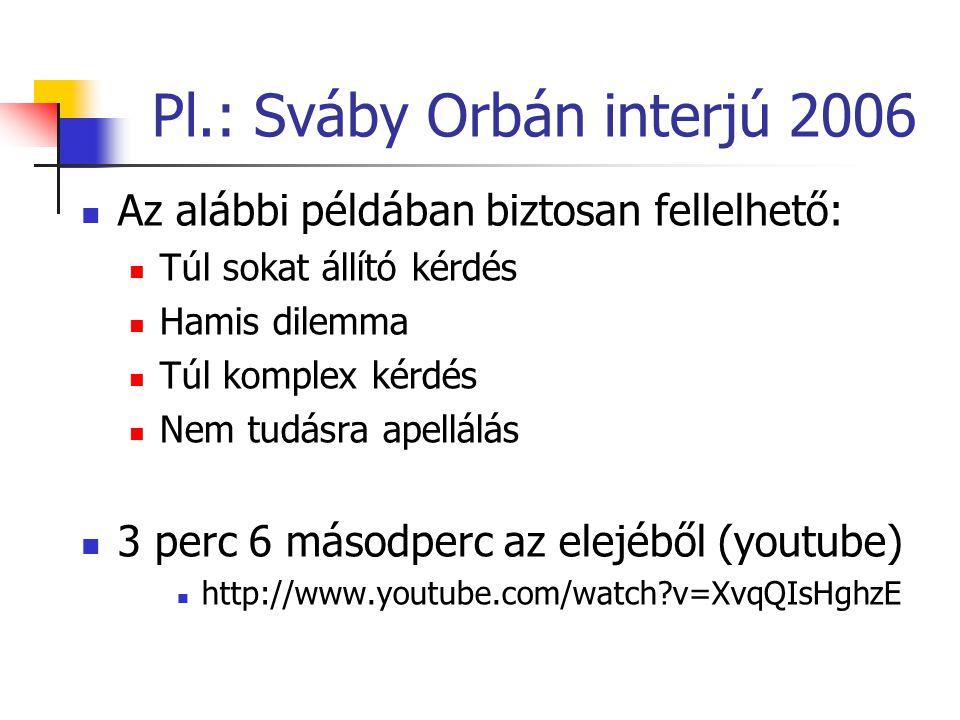 Pl.: Sváby Orbán interjú 2006 Az alábbi példában biztosan fellelhető: Túl sokat állító kérdés Hamis dilemma Túl komplex kérdés Nem tudásra apellálás 3