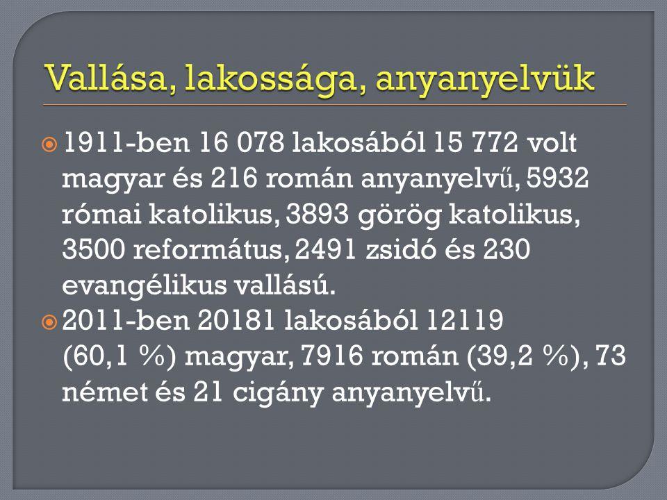  1911-ben 16 078 lakosából 15 772 volt magyar és 216 román anyanyelv ű, 5932 római katolikus, 3893 görög katolikus, 3500 református, 2491 zsidó és 23