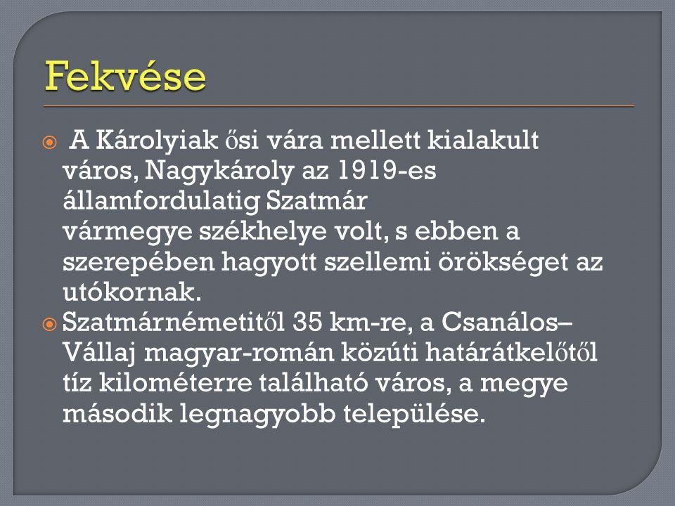  A Károlyiak ő si vára mellett kialakult város, Nagykároly az 1919-es államfordulatig Szatmár vármegye székhelye volt, s ebben a szerepében hagyott s