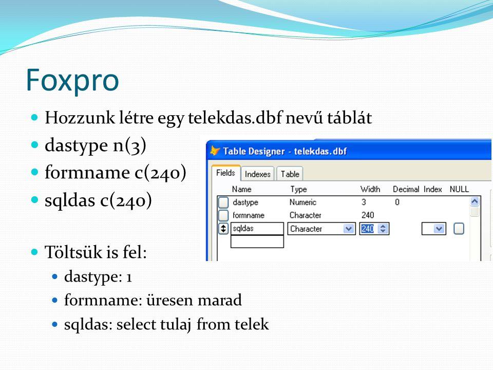 Foxpro Hozzunk létre egy telekdas.dbf nevű táblát dastype n(3) formname c(240) sqldas c(240) Töltsük is fel: dastype: 1 formname: üresen marad sqldas: