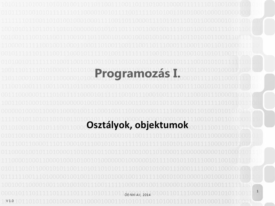 V 1.0 Programozás I. Osztályok, objektumok 1 ÓE-NIK-AII, 2014