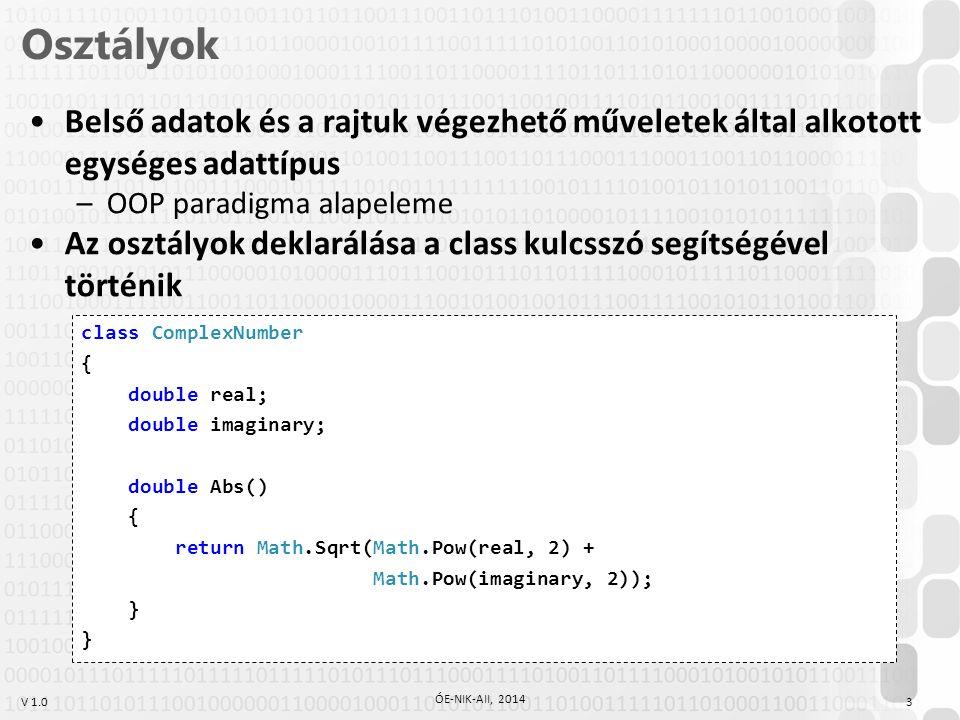 V 1.0 Osztályok 3 ÓE-NIK-AII, 2014 Belső adatok és a rajtuk végezhető műveletek által alkotott egységes adattípus –OOP paradigma alapeleme Az osztályok deklarálása a class kulcsszó segítségével történik class ComplexNumber { double real; double imaginary; double Abs() { return Math.Sqrt(Math.Pow(real, 2) + Math.Pow(imaginary, 2)); }