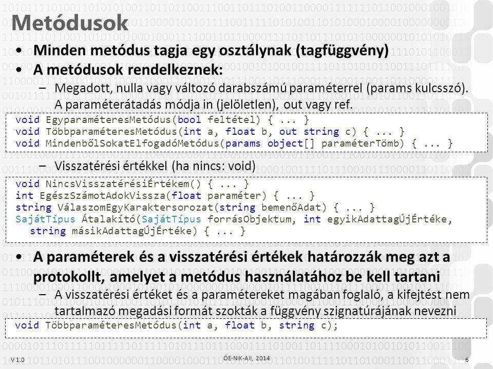 V 1.0 Tulajdonságok 17 ÓE-NIK-AII, 2014 Eddig public-ká tettük az adattagokat is, hogy hivatkozni tudjunk rájuk kívülről class ComplexNumber {...