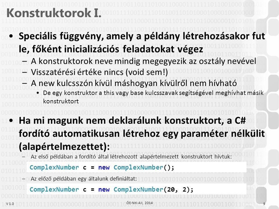 V 1.0 Tulajdonságok 20 ÓE-NIK-AII, 2014 Példa on-the-fly kiszámított tulajdonságra private double imaginary; private double real;...