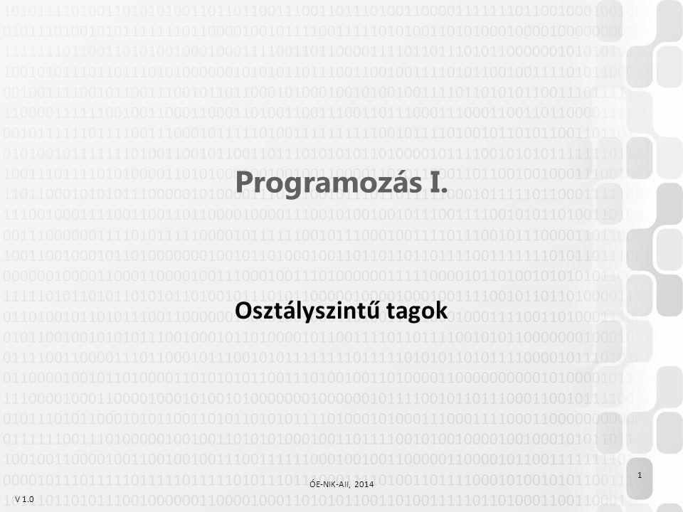 V 1.0 Programozás I. Osztályszintű tagok 1 ÓE-NIK-AII, 2014