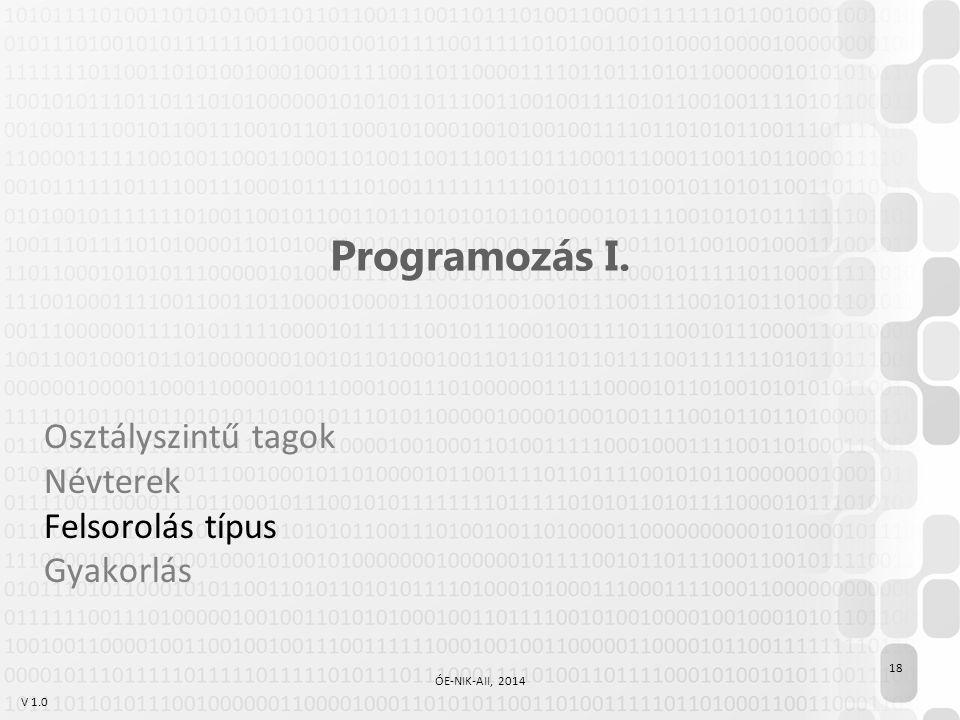 V 1.0 Programozás I. Osztályszintű tagok Névterek Felsorolás típus Gyakorlás 18 ÓE-NIK-AII, 2014